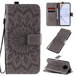 Embossing Sunflower Leather Wallet Case for Xiaomi Redmi K30 Pro - Gray