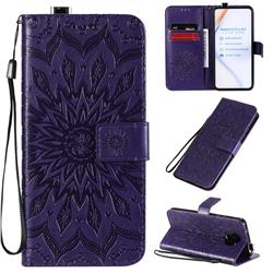 Embossing Sunflower Leather Wallet Case for Xiaomi Redmi K30 Pro - Purple