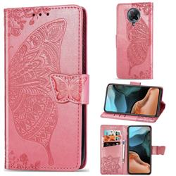 Embossing Mandala Flower Butterfly Leather Wallet Case for Xiaomi Redmi K30 Pro - Pink