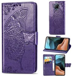 Embossing Mandala Flower Butterfly Leather Wallet Case for Xiaomi Redmi K30 Pro - Dark Purple