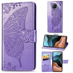 Embossing Mandala Flower Butterfly Leather Wallet Case for Xiaomi Redmi K30 Pro - Light Purple