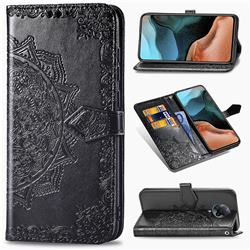 Embossing Imprint Mandala Flower Leather Wallet Case for Xiaomi Redmi K30 Pro - Black