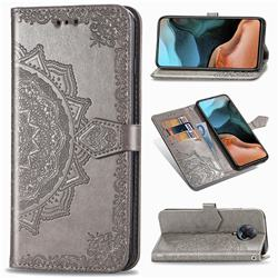 Embossing Imprint Mandala Flower Leather Wallet Case for Xiaomi Redmi K30 Pro - Gray