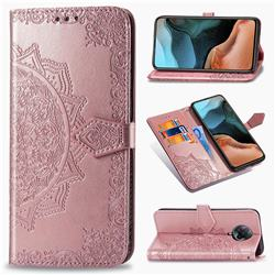 Embossing Imprint Mandala Flower Leather Wallet Case for Xiaomi Redmi K30 Pro - Rose Gold