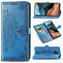 Embossing Imprint Mandala Flower Leather Wallet Case for Xiaomi Redmi K30 Pro - Blue