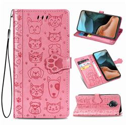 Embossing Dog Paw Kitten and Puppy Leather Wallet Case for Xiaomi Redmi K30 Pro - Pink