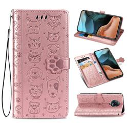 Embossing Dog Paw Kitten and Puppy Leather Wallet Case for Xiaomi Redmi K30 Pro - Rose Gold