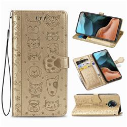 Embossing Dog Paw Kitten and Puppy Leather Wallet Case for Xiaomi Redmi K30 Pro - Champagne Gold