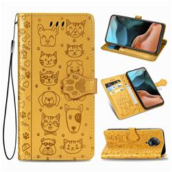 Embossing Dog Paw Kitten and Puppy Leather Wallet Case for Xiaomi Redmi K30 Pro - Yellow