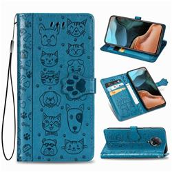 Embossing Dog Paw Kitten and Puppy Leather Wallet Case for Xiaomi Redmi K30 Pro - Blue