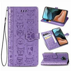 Embossing Dog Paw Kitten and Puppy Leather Wallet Case for Xiaomi Redmi K30 Pro - Purple
