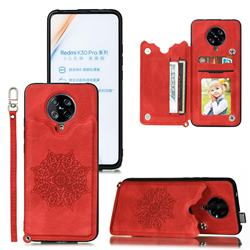 Luxury Mandala Multi-function Magnetic Card Slots Stand Leather Back Cover for Xiaomi Redmi K30 Pro - Red