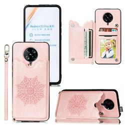 Luxury Mandala Multi-function Magnetic Card Slots Stand Leather Back Cover for Xiaomi Redmi K30 Pro - Rose Gold