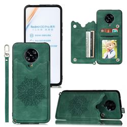 Luxury Mandala Multi-function Magnetic Card Slots Stand Leather Back Cover for Xiaomi Redmi K30 Pro - Green