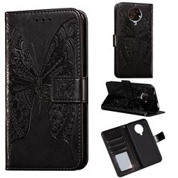Intricate Embossing Vivid Butterfly Leather Wallet Case for Xiaomi Redmi K30 Pro - Black