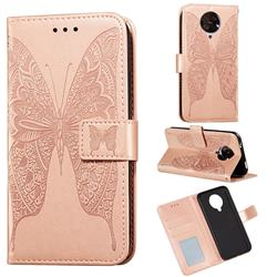 Intricate Embossing Vivid Butterfly Leather Wallet Case for Xiaomi Redmi K30 Pro - Rose Gold