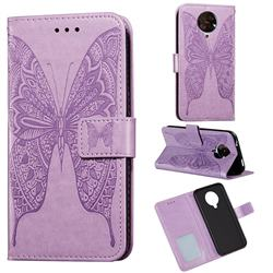 Intricate Embossing Vivid Butterfly Leather Wallet Case for Xiaomi Redmi K30 Pro - Purple