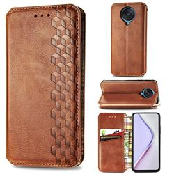 Ultra Slim Fashion Business Card Magnetic Automatic Suction Leather Flip Cover for Xiaomi Redmi K30 Pro - Brown