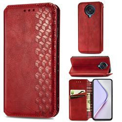 Ultra Slim Fashion Business Card Magnetic Automatic Suction Leather Flip Cover for Xiaomi Redmi K30 Pro - Red