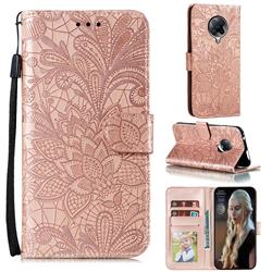 Intricate Embossing Lace Jasmine Flower Leather Wallet Case for Xiaomi Redmi K30 Pro - Rose Gold