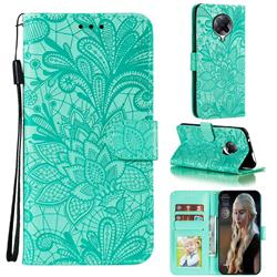 Intricate Embossing Lace Jasmine Flower Leather Wallet Case for Xiaomi Redmi K30 Pro - Green