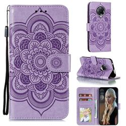 Intricate Embossing Datura Solar Leather Wallet Case for Xiaomi Redmi K30 Pro - Purple