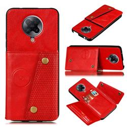 Retro Multifunction Card Slots Stand Leather Coated Phone Back Cover for Xiaomi Redmi K30 Pro - Red