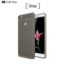 Luxury Carbon Fiber Brushed Wire Drawing Silicone TPU Back Cover for Xiaomi Mi Max (Gray)