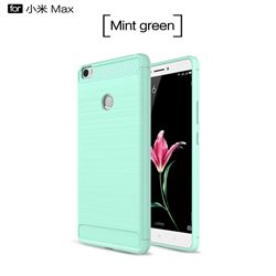 Luxury Carbon Fiber Brushed Wire Drawing Silicone TPU Back Cover for Xiaomi Mi Max (Mint Green)