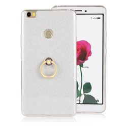 Luxury Soft TPU Glitter Back Ring Cover with 360 Rotate Finger Holder Buckle for Xiaomi Mi Max - White