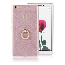 Luxury Soft TPU Glitter Back Ring Cover with 360 Rotate Finger Holder Buckle for Xiaomi Mi Max - Pink