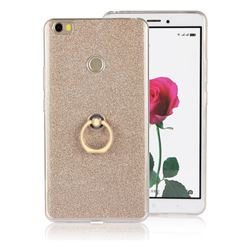 Luxury Soft TPU Glitter Back Ring Cover with 360 Rotate Finger Holder Buckle for Xiaomi Mi Max - Golden