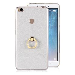 Luxury Soft TPU Glitter Back Ring Cover with 360 Rotate Finger Holder Buckle for Xiaomi Mi Max 2 - White