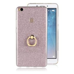 Luxury Soft TPU Glitter Back Ring Cover with 360 Rotate Finger Holder Buckle for Xiaomi Mi Max 2 - Pink