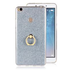 Luxury Soft TPU Glitter Back Ring Cover with 360 Rotate Finger Holder Buckle for Xiaomi Mi Max 2 - Blue