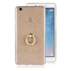 Luxury Soft TPU Glitter Back Ring Cover with 360 Rotate Finger Holder Buckle for Xiaomi Mi Max 2 - Golden
