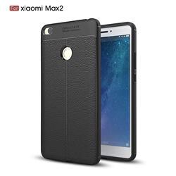 Luxury Auto Focus Litchi Texture Silicone TPU Back Cover for Xiaomi Mi Max 2 - Black