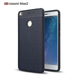 Luxury Auto Focus Litchi Texture Silicone TPU Back Cover for Xiaomi Mi Max 2 - Dark Blue