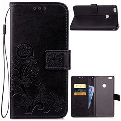 Embossing Imprint Four-Leaf Clover Leather Wallet Case for Xiaomi Mi Max 2 - Black