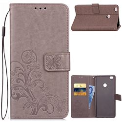 Embossing Imprint Four-Leaf Clover Leather Wallet Case for Xiaomi Mi Max 2 - Grey