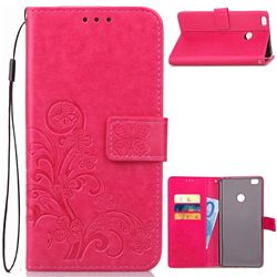 Embossing Imprint Four-Leaf Clover Leather Wallet Case for Xiaomi Mi Max 2 - Rose