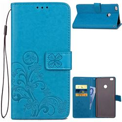 Embossing Imprint Four-Leaf Clover Leather Wallet Case for Xiaomi Mi Max 2 - Blue