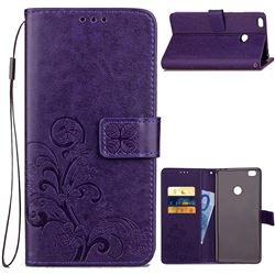 Embossing Imprint Four-Leaf Clover Leather Wallet Case for Xiaomi Mi Max 2 - Purple