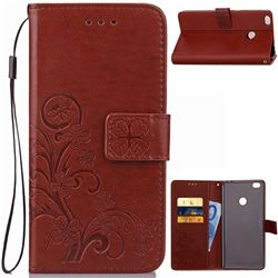 Embossing Imprint Four-Leaf Clover Leather Wallet Case for Xiaomi Mi Max 2 - Brown
