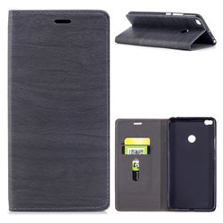 Tree Bark Pattern Automatic suction Leather Wallet Case for Xiaomi Mi Max 2 - Gray