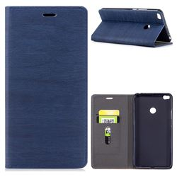 Tree Bark Pattern Automatic suction Leather Wallet Case for Xiaomi Mi Max 2 - Blue