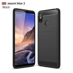 Luxury Carbon Fiber Brushed Wire Drawing Silicone TPU Back Cover for Xiaomi Mi Max 3 - Black