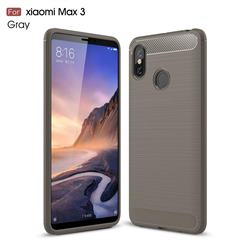 Luxury Carbon Fiber Brushed Wire Drawing Silicone TPU Back Cover for Xiaomi Mi Max 3 - Gray