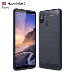 Luxury Carbon Fiber Brushed Wire Drawing Silicone TPU Back Cover for Xiaomi Mi Max 3 - Navy