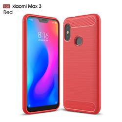 Luxury Carbon Fiber Brushed Wire Drawing Silicone TPU Back Cover for Xiaomi Mi Max 3 - Red